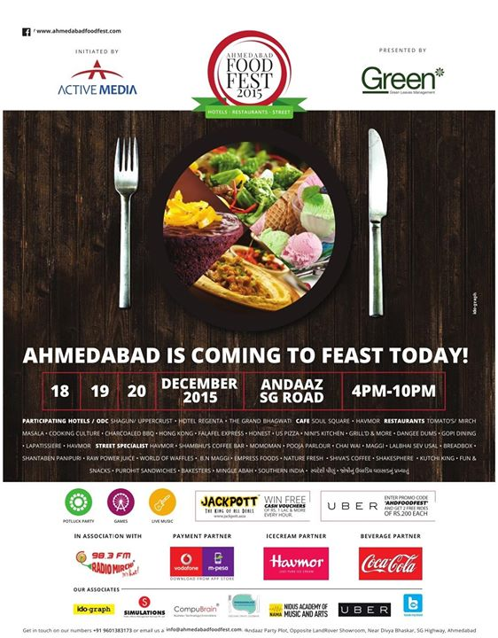 The stage is all set for Food Lovers. If you are some one who would want to try different cuisine; heard of a restaurant but never got a chance to try their food; try mixing some food from a particular restaurant with some other food at the same time; if you want to start with a Gujarati Appetizer and end with Arabian Sweets, if you want to try Ubadiyu and then relish a Cup Cake immediately after, here is your chance. Go visit the Ahmedabad Food Fest 2015, at Andaz, SG Highway.