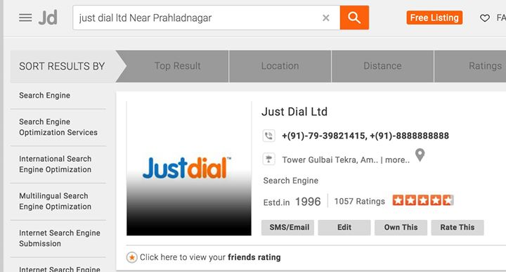 Got a call from JustDial and the guy on the other side said: Sir, your company has a free listing right now but our million users trust and enquire to those who have a Just Dial Verified Stamp against their name at 3500/- per month.  And I shared with him this screenshot. Stunned, he said I am gonna give this feedback on my name and shall demand an interim promotion. #JustDial #PunIntended