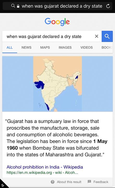 :: Happy Gujarat Day :: Apparently it was today that we were declared a #drystate.
