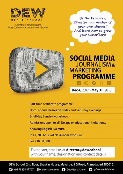 Direct your own shots & learn how to grow your #YouTube subscribers! Calling all #Journalists, invest in an enriching career opportunity!  #SocialMediaJournalism #EnrolNow #DewMediaSchool #Ahmedabad