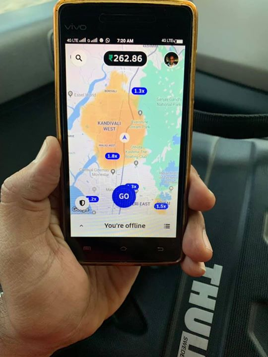 Digital India at its level best! This is the secondary phone of an Uber driver I am riding with. He uses an app that generates heat map per Uber requests(surge) on real time basis to boost his revenue. #IndiaRising #DataAnalytics