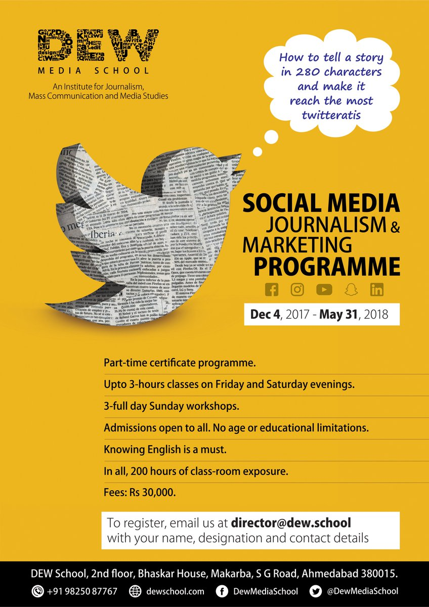 Whilst the Social Media has become the new PEN, here's an opportunity for you to cope up! #SocialMediaJournalism #EnrolNow https://t.co/XB460ijOHt