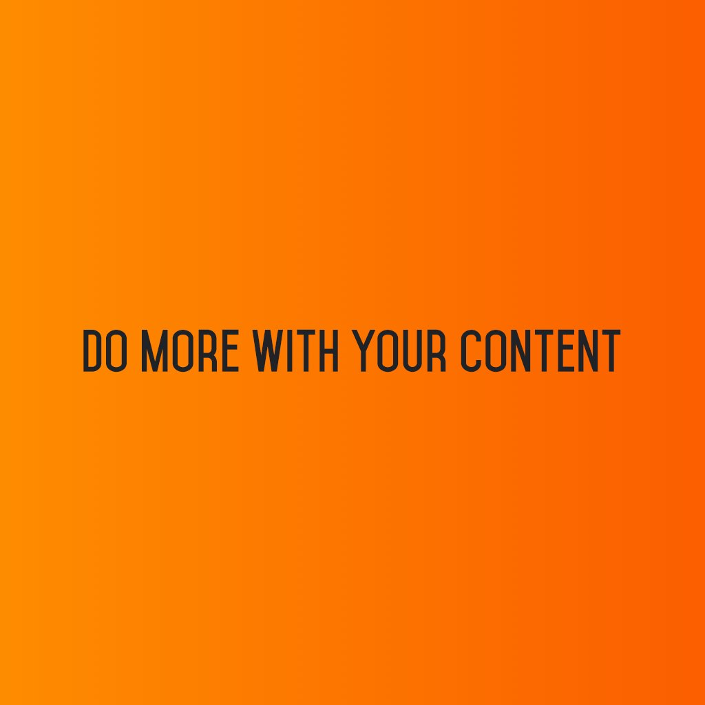 :: Do More With Your Content ::  #sm2p0 #contentstrategy #SocialMediaStrategy #DigitalStrategy #SocialMediaTools #SocialMediaTips https://t.co/fvRM0wEber