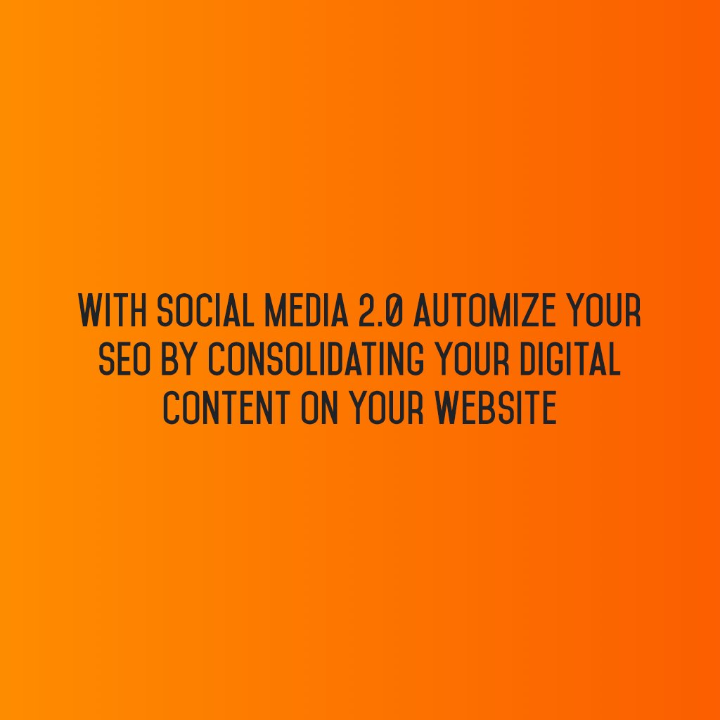 With Social Media 2.0 automize your #SEO by consolidating your #DigitalContent on your website! #sm2p0 #contentstrategy #SocialMediaStrategy https://t.co/6sgJwbg8Ke
