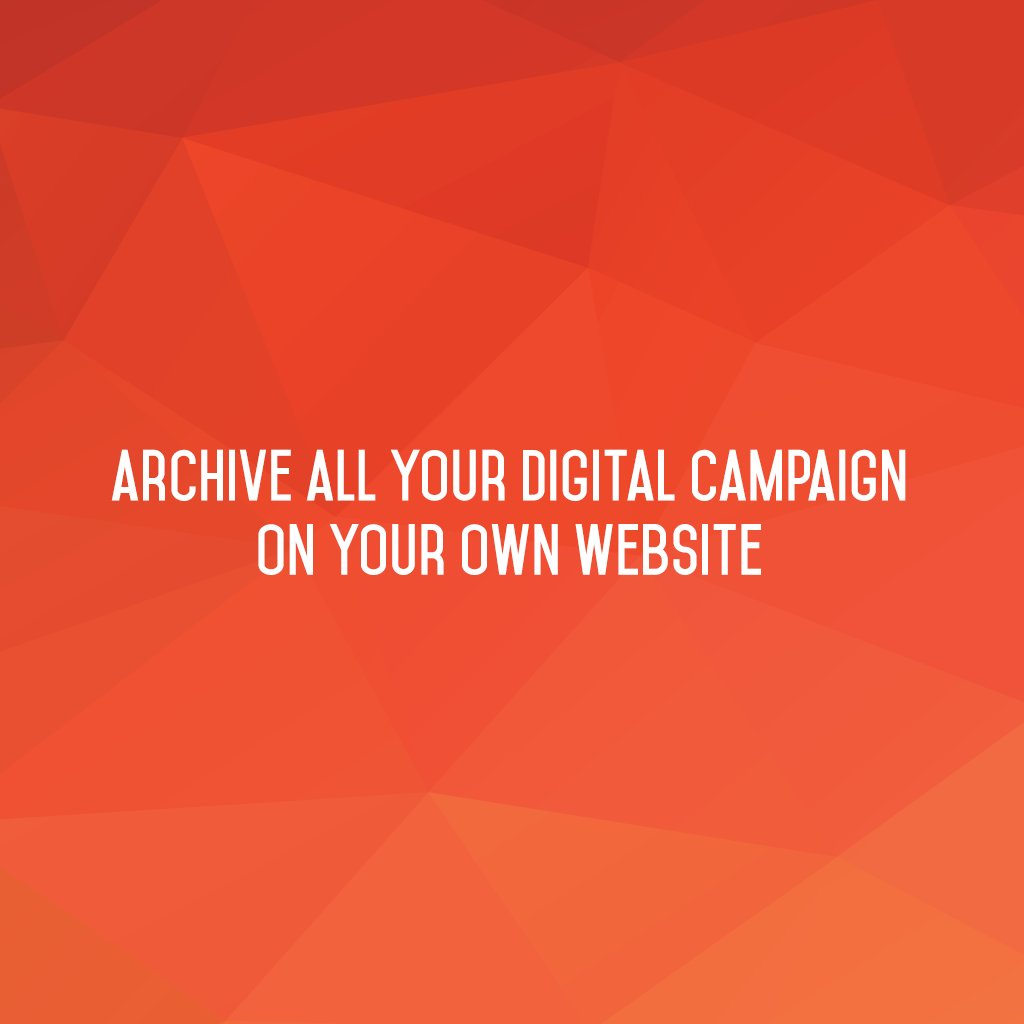 Archive all your #digitalcampaign on your own website!  #sm2p0 #contentstrategy #SocialMediaStrategy #DigitalStrategy #SocialMediaTools https://t.co/ZsX5whdVbZ